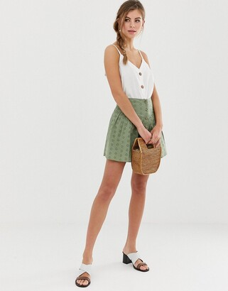 Asos Design DESIGN broderie mini skirt with button front-Green