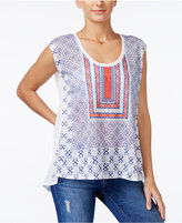 Jessica Simpson Lavi Geo-Print Split-Back Top