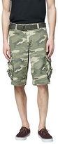 Aeropostale Mens Cape Juby Camo Belted Cargo Shorts Brown