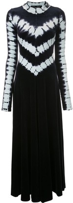Proenza Schouler tie dye velvet long sleeve dress