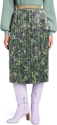 ModCloth Pleated Velvet Midi Skirt