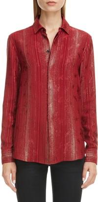 Saint Laurent Lame Stripe Silk Blend Floral Jacquard Shirt