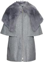 Moncler Darla shearling-collared wool-blend coat