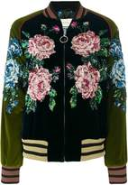 Gucci sequin floral detailed bomber jacket
