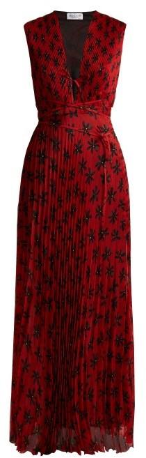 Raquel Diniz Mika Floral-print Pleated Dress - Womens - Red Multi
