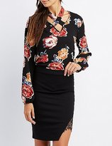 Charlotte Russe Floral Strappy Choker Neck Blouse