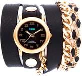 La Mer Black Magic Goldtone Black Leather Wrap Watch