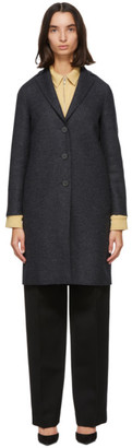 Harris Wharf London Grey and Navy Pressed Wool Coat