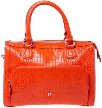 Aigner Orange Croc Embossed Leather Front Pocket Zip Shoulder Bag