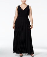 Xscape Evenings Plus Size Pleated V-Neck Gown