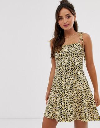 Asos DESIGN square neck mini dress with tie straps in ditsy floral print