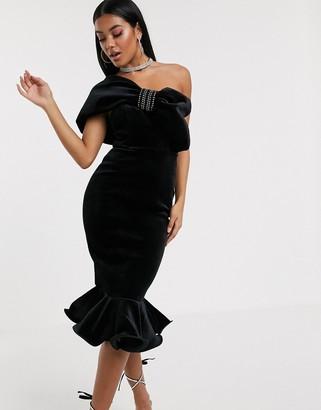 Asos Design DESIGN Premium diamante bow velvet pep hem midi dress-Black