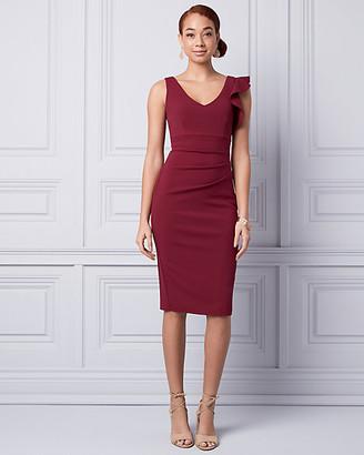 Le Château Knit Crepe V-Neck Ruffle Dress