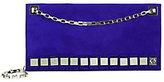 Tomasini Suede Metal Detail Shoulder Bag: Electric Blue