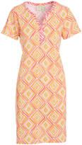 Caribbean Joe Coral Rock Geometric Notch Neck Dress