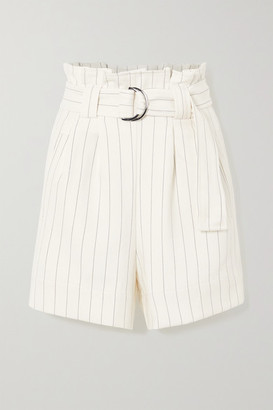 Ganni Belted Pinstriped Crepe Shorts - Ivory