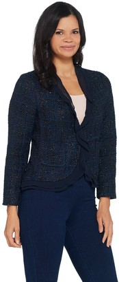 Vince Camuto Boucle Jacket with Ruffle Front Detail