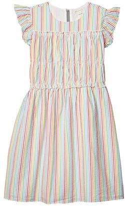 crewcuts by J.Crew Seersucker Dress (Toddler/Little Kids/Big Kids) (Ivory/Rainbow) Girl's Clothing