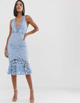 Love Triangle extreme plunge eyelash lace midi dress with open back tiered skirt in blue