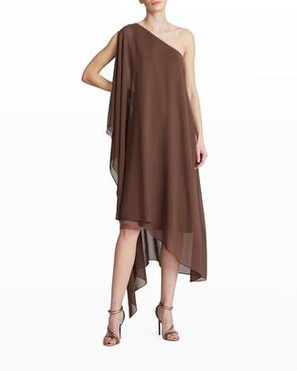 Halston Ellie One-Shoulder Sheer Overlay Dress