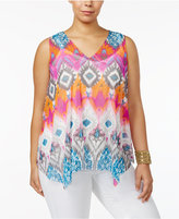INC International Concepts Plus Size Printed Handkerchief-Hem Top, Only at Macy's