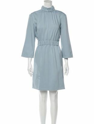 Tibi Mock Neck Mini Dress w/ Tags Blue