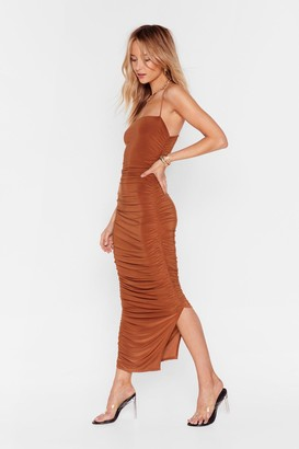 Nasty Gal Womens Only Fools Ruche In Maxi Dress - Cinnamon