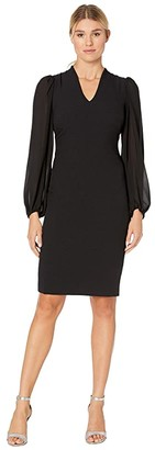 Vince Camuto Kors Crepe Bodycon Dress w/ Chiffon Combo at Back and Sleeve