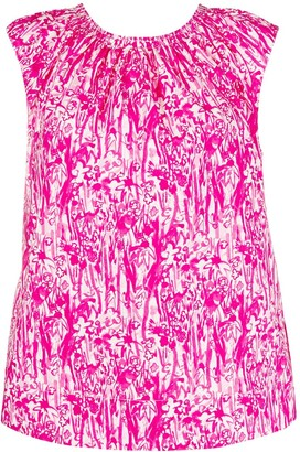 Marni Graphic Flower Print Sleeveless Top