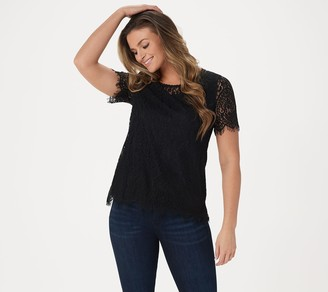 Isaac Mizrahi Live! Engineered Lace Short-Sleeve Knit Top