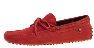 Tod's Red Suede with Camo Print Lining Bow Loafers Size 41.5