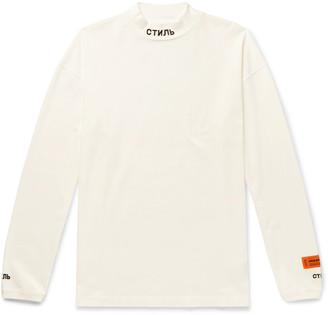 Heron Preston Logo-Embroidered Organic Cotton-Jersey Mock-Neck T-Shirt