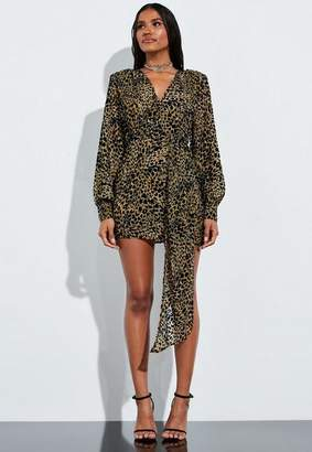 Missguided Brown Animal Print Velvet Drape Front Mini Dress