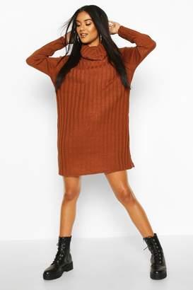 boohoo Roll Neck Rib Knit Mini Dress