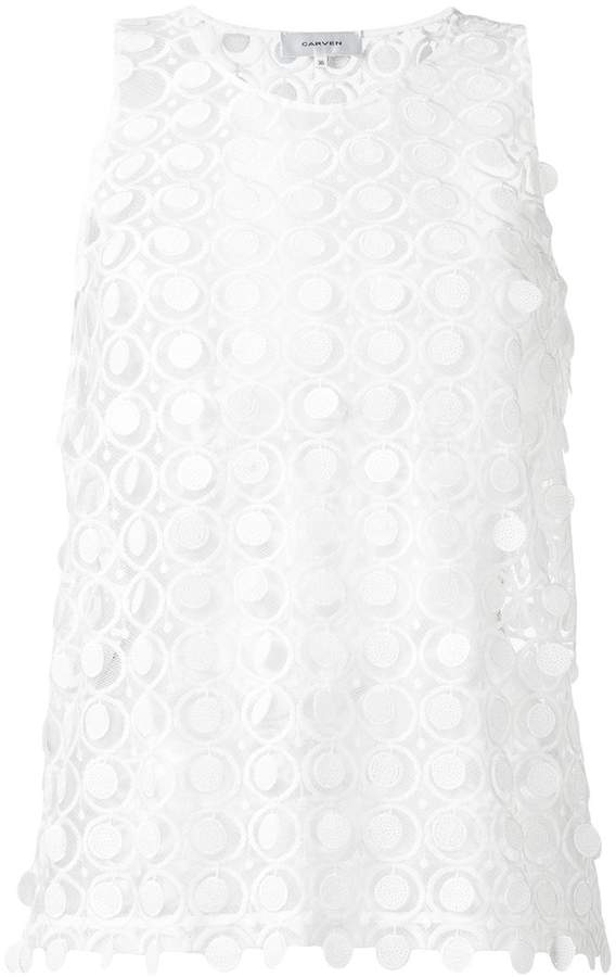 Carven embroidered lace tank