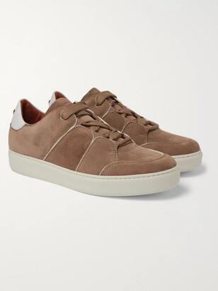 Ermenegildo Zegna Tiziano Leather-Trimmed Suede Sneakers