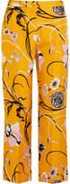 Emilio Pucci Floral-print Silk-twill Straight-leg Pants - Marigold