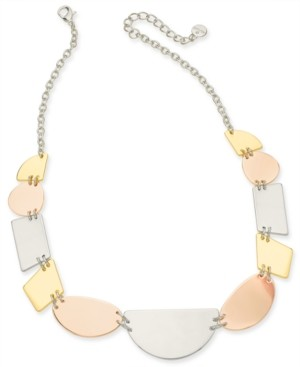 """Alfani Tri-Tone Sculptural Statement Necklace, 20"""" + 3"""" extender, Created for Macy's"""