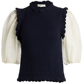 Sea Olive Organza Combo Puff-Sleeve Wool Top