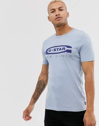 G Star G-Star Graphic 4 organic cotton chest logo slim fit t-shirt in light blue