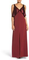 Jill Stuart Satin & Crepe Popover Gown