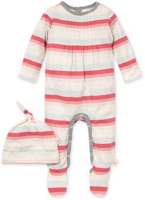 Burt's Bees Foothills Stripe Organic Baby Jumpsuit & Knot Top Hat Set