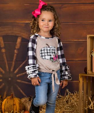 Mia Belle Girls Girls' Tee Shirts Brown - Brown & Black Plaid Pumpkin Knot-Front Raglan Tee - Toddler & Girls