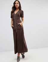 Liquorish Zip Front Maxi Dress Brown