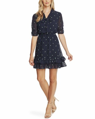 CeCe Sportswear Women's V-Neck Floral Embroidered Dress with Ruffle Hem