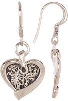 Lois Hill Sterling Silver Small Granulated Heart Drop Earrings