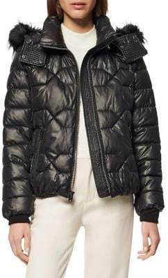Andrew Marc Ponce Faux Fur Hooded Puffer Coat