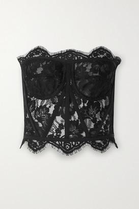 Dolce & Gabbana Grosgrain-trimmed Lace Bustier Top - Black