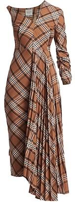 A.W.A.K.E. Mode Pleated Asymmetric Plaid Dress