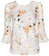 Wallis Petite Grey Blossom Print Frill Sleeve Top